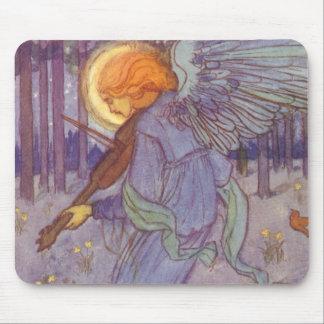 Musique vintage, ange jouant un violon dans une tapis de souris
