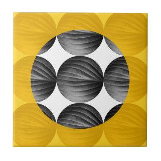 Mustard Yellow and Grey abstrait Petit Carreau Carré
