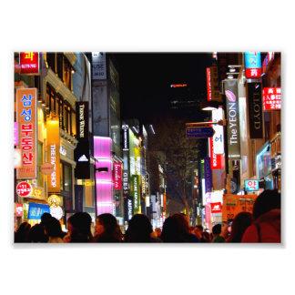Myeongdong bij Nacht Foto Afdruk