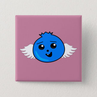 Myrtille heureuse volante badge carré 5 cm