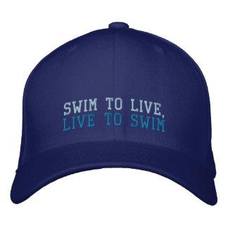 Nagez pour vivre, vivant pour nager le casquette chapeaux brodés