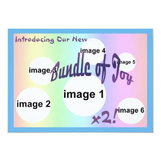 Naissance en pastel de GARÇONS de JUMEAU de Carton D'invitation 12,7 Cm X 17,78 Cm