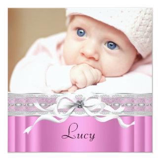 Naissance noire rose de photo de bébé de perles carton d'invitation  13,33 cm