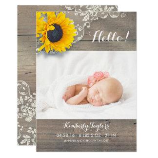 Naissance nouveau-née de photo de bébé de dentelle carton d'invitation  12,7 cm x 17,78 cm