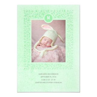 Naissance nouveau-née vintage florale en bon état carton d'invitation  12,7 cm x 17,78 cm