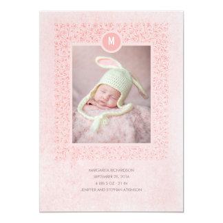 Naissance nouveau-née vintage florale rose de carton d'invitation  12,7 cm x 17,78 cm