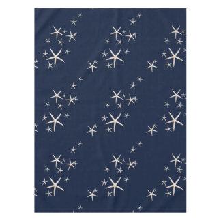 Nappe Bleu marine blanc d'étoiles de mer tropical