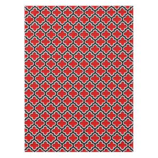Nappe Motif blanc noir rouge #5DS de Quatrefoil de