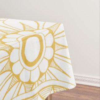 Nappe Motif floral vintage jaune de médaillon