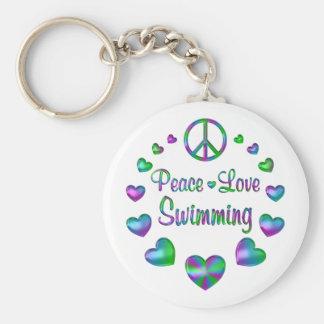 Natation d'amour de paix porte-clés