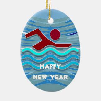 Natation de nageur de club de bain de BONNE ANNÉE Ornement Ovale En Céramique