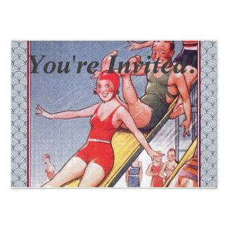 Natation vintage de réception au bord de la carton d'invitation  11,43 cm x 15,87 cm