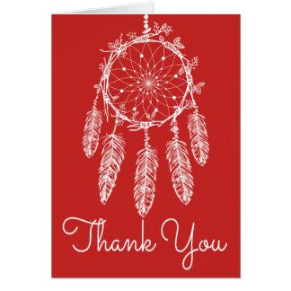 Natif américain rouge de receveur de rêve de Merci Carte