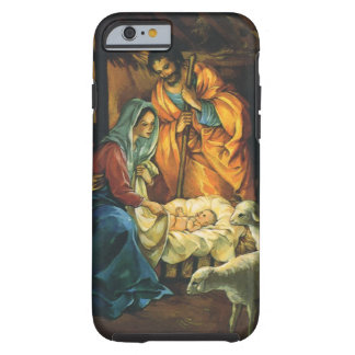 Nativité vintage de Noël, bébé Jésus dans Manger Coque iPhone 6 Tough