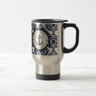 Nautique et je motive damassé bleue et blanche, mug de voyage