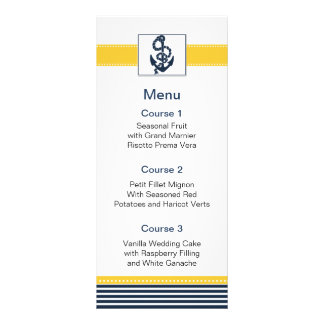navy stripes, anchor, nautical menu cards full color rack card