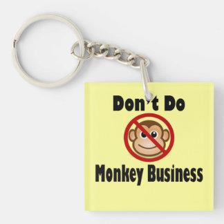 Ne faites pas le porte - clé d'affaires de singe porte-clé carré en acrylique une face