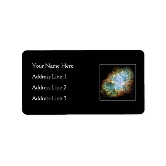 Nébuleuse de crabe - télescope de Hubble Étiquette D'adresse