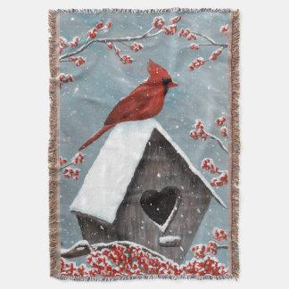 Neige cardinale du nord d'hiver couverture