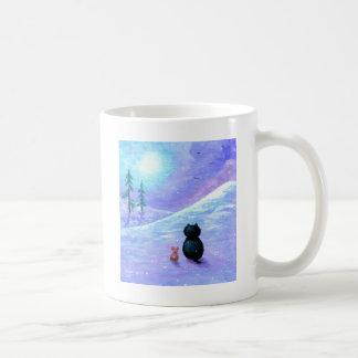 Neige Creationarts de souris de chat d'hiver Mug Blanc
