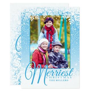 Neige molle, carte photo du plus Joyeux Noël Carton D'invitation 12,7 Cm X 17,78 Cm