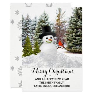 Neige pittoresque d'hiver avec la carte de Noël de Carton D'invitation 12,7 Cm X 17,78 Cm