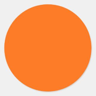 neon oranje stevige kleur ronde sticker