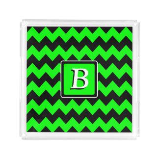 Néon vert et monogramme noir de Chevron   Plateau En Acrylique