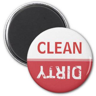 Nettoyez le lave-vaisselle rouge rouge sale magnet rond 8 cm