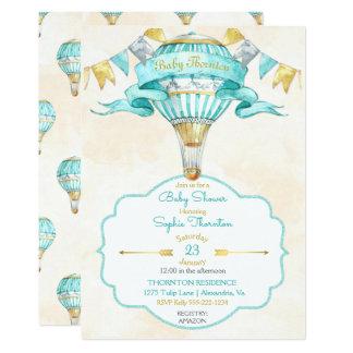 Neutre chaud de genre d'or de turquoise de ballon carton d'invitation  12,7 cm x 17,78 cm