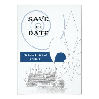 New Orleans Riverboat Fleur DE Lis Save de Datum Kaart