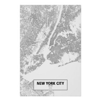 New York City, New York (noir sur le blanc) Poster