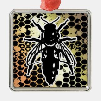 Nid d'abeilles d'abeille géométrique ornement carré argenté