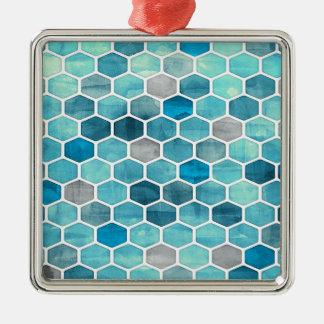 Nid d'abeilles olographe ! ornement carré argenté