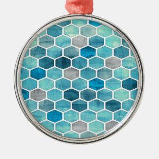 Nid d'abeilles olographe ! ornement rond argenté