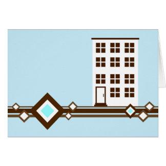 nieuwe adresaankondiging: diamant flatgebouw met kaart