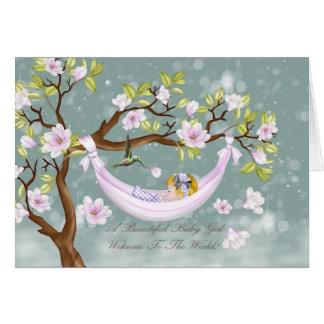 nieuwe de gelukwensenkaart van het babymeisje - briefkaarten 0