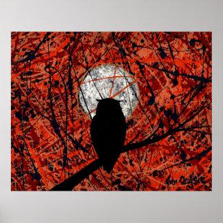 NIGHTLY VIGIL (uil/maankunst) (grote) ~ Poster