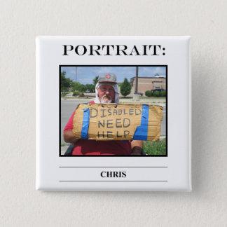 No. 3 de bouton de portrait badge carré 5 cm