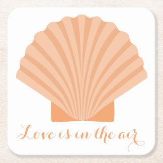 Noce orange de plage de coquillage d'amour dessous-de-verre carré en papier