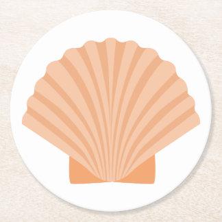 Noce orange nautique de plage de coquillage dessous-de-verre rond en papier