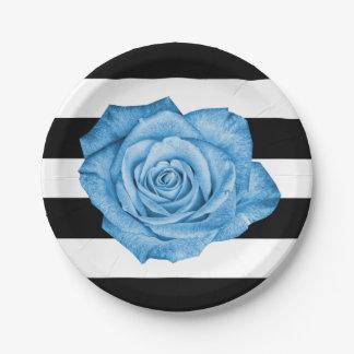 Noce rayée blanche de bleu de noir moderne de rose assiettes en papier