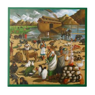 Noé et l'arche : Peinture originale : Animaux Petit Carreau Carré