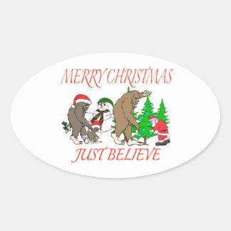 Noël 2 de famille de Bigfoot Sticker Ovale
