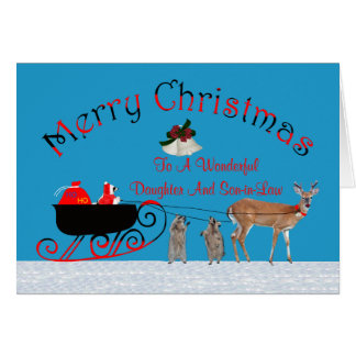 Noël à la carte de voeux de fille/de beau-fils
