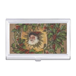 Noël antique vintage de houx de Père Noël Boîtier Pour Cartes De Visite