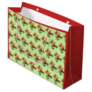 Noël Bells, grand sac brillant rouge de cadeau