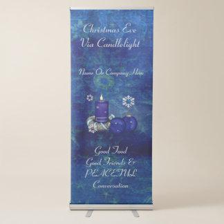 Noël bleu de bougie banderole rétractable