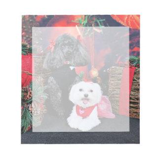 Noël - caniche d'Amiche - Tinkerbell maltais Blocs Notes