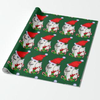 Noël de casquette de Père Noël de caniche Papier Cadeau